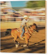 Cowboys Ride And Rope Cattle During San Wood Print