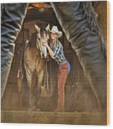 Cowgirl And Cowboy Wood Print