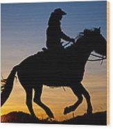 Cowgirl At Sunrise Wood Print