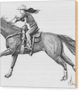 Cowgirl Full Out Wood Print