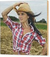 Cowgirl Holding Hat Vertical Wood Print