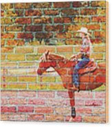 Cowgirl In Bricks Wood Print