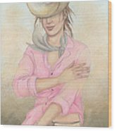 Cowgirl Wood Print by Judith Grzimek