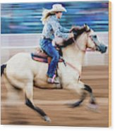 Cowgirl Rides Fast For Best Time Wood Print