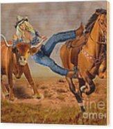 Cowgirl Steer Wrestling Wood Print