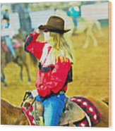 Cowgirl Waiting Wood Print