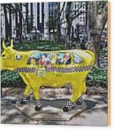 Cow Parade N Y C 2000 - Taxi Cow Wood Print