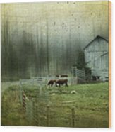 Cows By The Road Wood Print by Kathy Jennings
