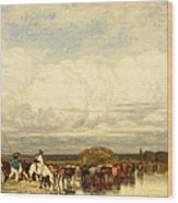 Cows Crossing A Ford Wood Print