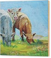 Cows Landscape Wood Print
