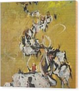Cows Wood Print by Negoud Dahab