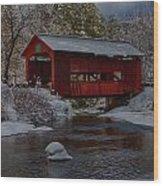 Cox Brook Runs Under Covered Bridge Wood Print
