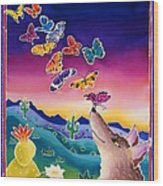 Coyote And The Laughing Butterflies Wood Print
