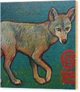 Coyote Of The Symbol Wood Print