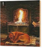 Cozy By The Fire Wood Print