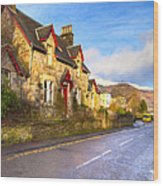 Cozy Cottage In A Scottish Village Wood Print by Mark E Tisdale
