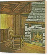 Cozy Fireplace At Lake Hope Ohio Wood Print