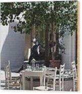 Cozy Greek Taverna Wood Print