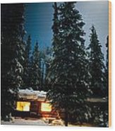 Cozy Log Cabin At Moon-lit Winter Night Wood Print
