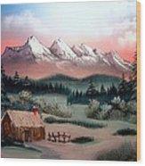 Cozy Winter Cabin Wood Print