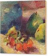 Crab Apples And Pears Wood Print