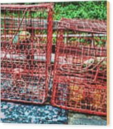 Crab Pots Wood Print