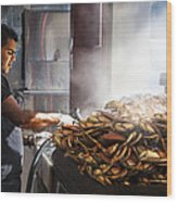 Crab Seller At Fisherman's Wharf  Wood Print by Dorothy Walker
