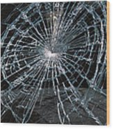 Cracked Glass Of Car Windshield Wood Print