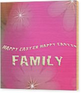 Cracked Happy Easter Wood Print
