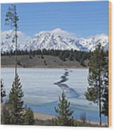 Cracked Ice On Jackson Lake Grand Teton Np Wyoming Wood Print
