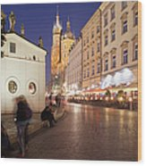 Cracow By Night In Poland Wood Print