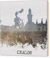 Cracow City Skyline Wood Print