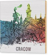 Cracow City Skyline Map Wood Print