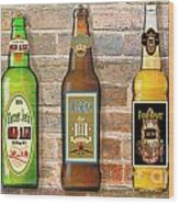 Craft Beer Collection On Brick Wood Print