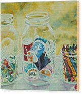 Craft Room Pickles Wood Print