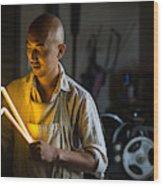 Craftsmen Holding A Lightning Bolt Shaped Neon Light Wood Print