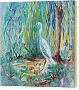 Crane And Willow Wood Print