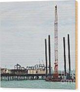 Crane Barge At Hastings Pier Wood Print