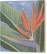 Crane Flower Paradise Wood Print
