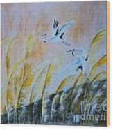 Crane On Reed Marshes Wood Print