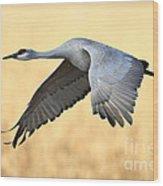 Crane Over Golden Field Wood Print