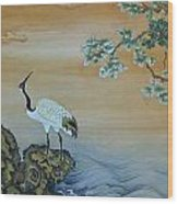 Crane Perched On A Rock At Dawn Wood Print