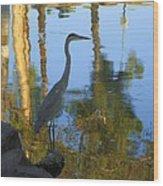 Crane Standing Still Wood Print