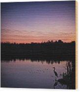 Crane Under Wires At Sunset Wood Print