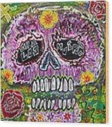 Craneo Rosado De Los Muertos Wood Print