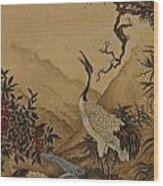 Cranes Beside A River With A Plum Tree Wood Print