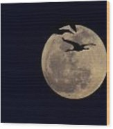 Cranes Over The Moon Wood Print