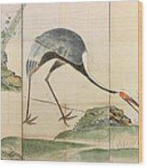 Cranes Pines And Bamboo Wood Print