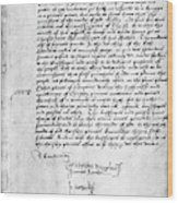 Cranmer Declaration, 1537 Wood Print