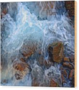 Crashing Falls On Rocks Below Wood Print